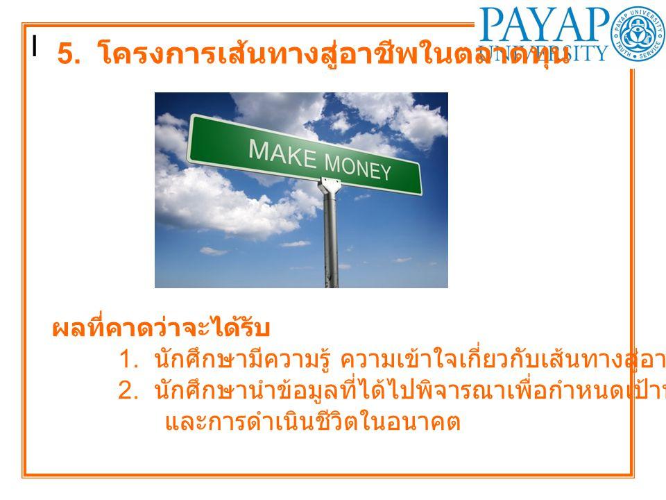 I 5.โครงการเส้นทางสู่อาชีพในตลาดทุน ผลที่คาดว่าจะได้รับ 1.