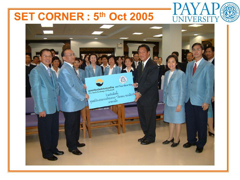 SET CORNER : 5 th Oct 2005