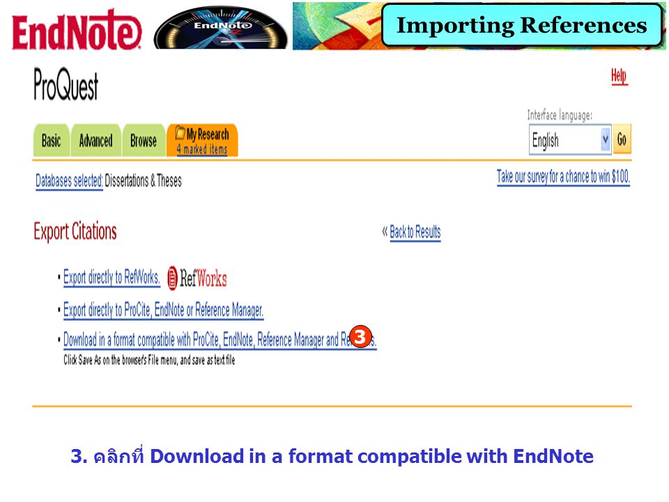Importing References 3. คลิกที่ Download in a format compatible with EndNote 3