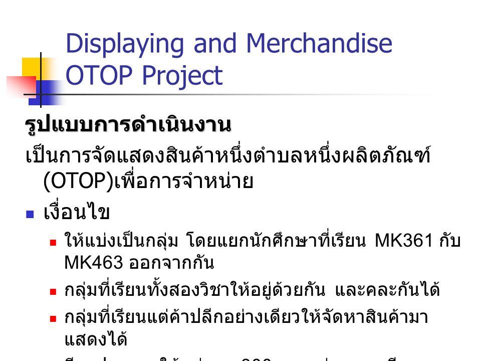 Displaying and Merchandise OTOP Project รูปแบบการดำเนินงาน เป็นการจัดแสดงสินค้าหนึ่งตำบลหนึ่งผลิตภัณฑ์ (OTOP) เพื่อการจำหน่าย เงื่อนไข ให้แบ่งเป็นกลุ่