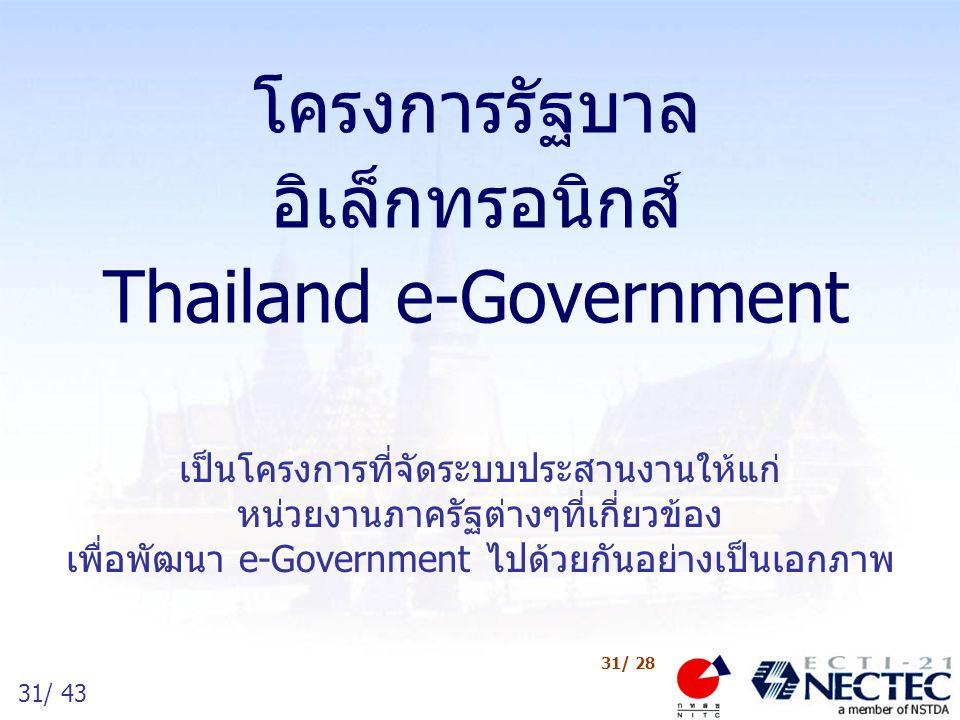 31/ 43 31/ 28 โครงการรัฐบาล อิเล็กทรอนิกส์ Thailand e-Government เป็นโครงการที่จัดระบบประสานงานให้แก่ หน่วยงานภาครัฐต่างๆที่เกี่ยวข้อง เพื่อพัฒนา e-Go