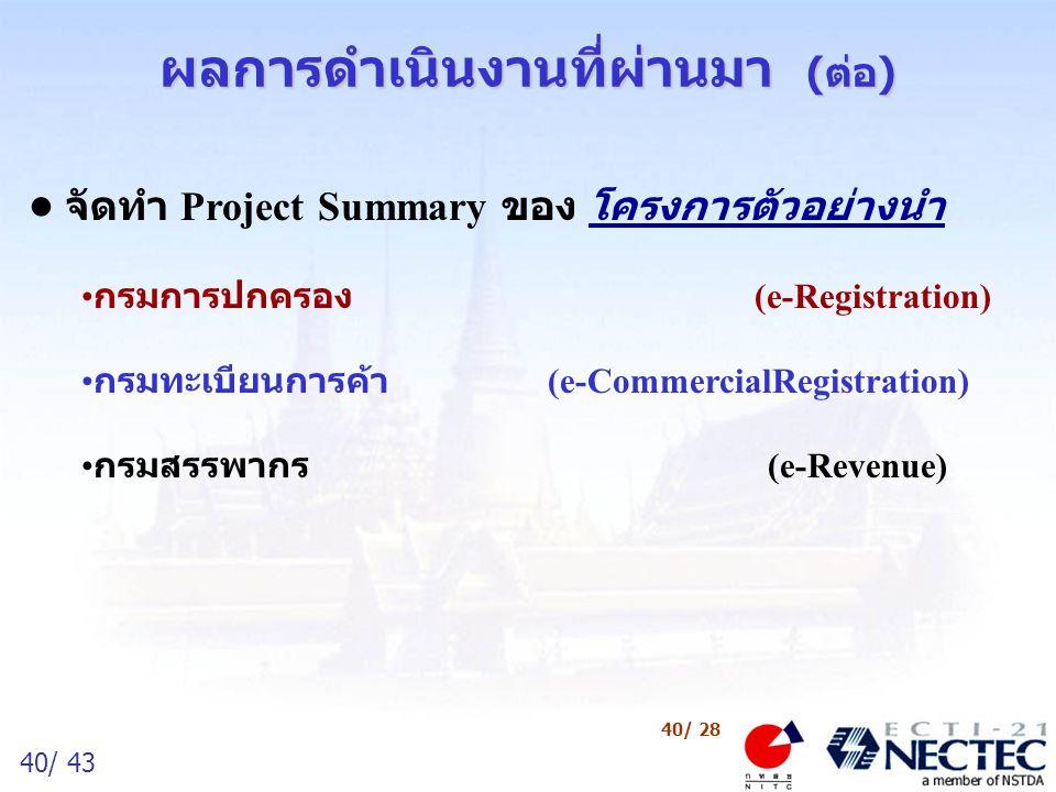 40/ 43 40/ 28 ผลการดำเนินงานที่ผ่านมา (ต่อ) จัดทำ Project Summary ของ โครงการตัวอย่างนำ กรมการปกครอง (e-Registration) กรมทะเบียนการค้า (e-CommercialRe