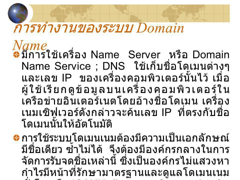 การทำงานของระบบ Domain Name มีการใช้เครื่อง Name Server หรือ Domain Name Service ; DNS ใช้เก็บชื่อโดเมนต่างๆ และเลข IP ของเครื่องคอมพิวเตอร์นั้นไว้ เม