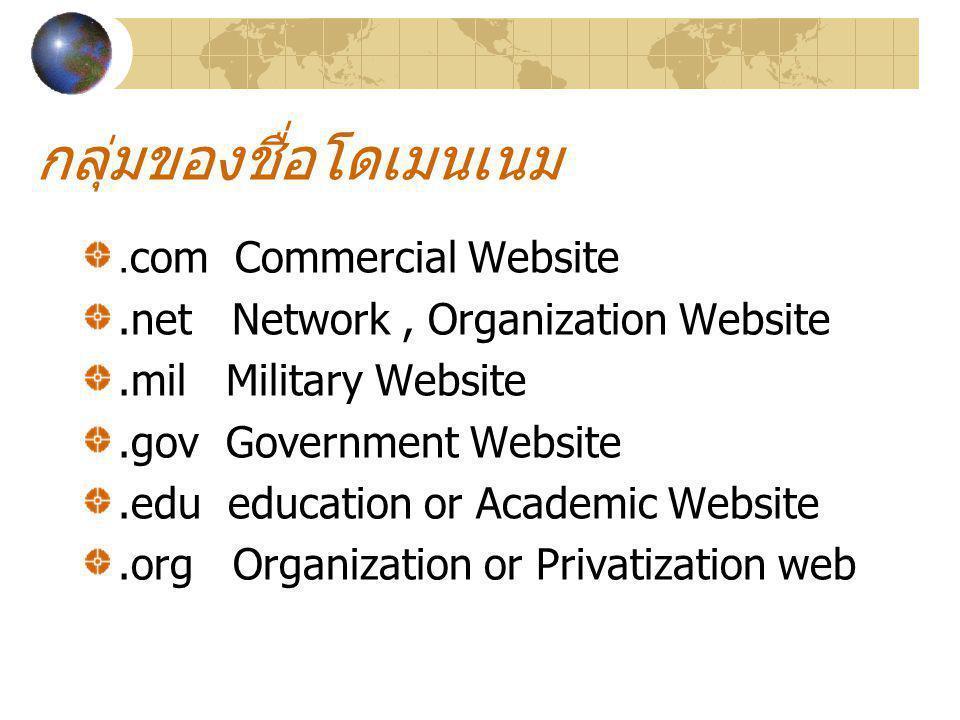 กลุ่มของชื่อโดเมนเนม.com Commercial Website.net Network, Organization Website.mil Military Website.gov Government Website.edu education or Academic We