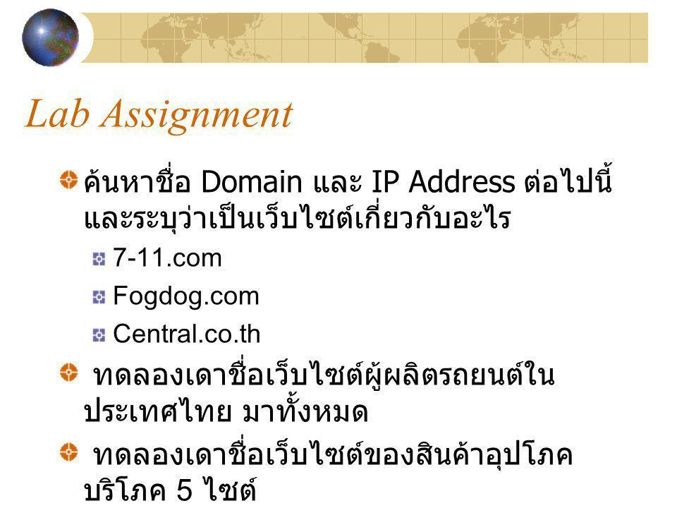 Lab Assignment ค้นหาชื่อ Domain และ IP Address ต่อไปนี้ และระบุว่าเป็นเว็บไซต์เกี่ยวกับอะไร 7-11.com Fogdog.com Central.co.th ทดลองเดาชื่อเว็บไซต์ผู้ผ