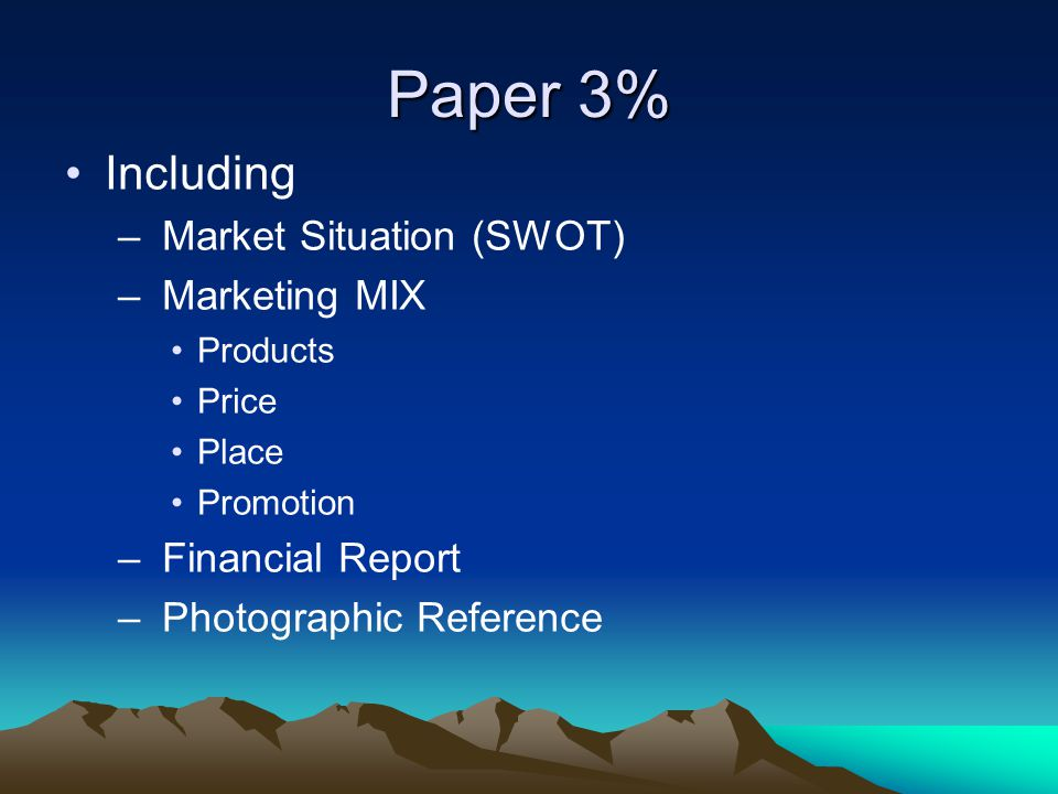 Paper 3% Including – Market Situation (SWOT) – Marketing MIX Products Price Place Promotion – Financial Report – Photographic Reference