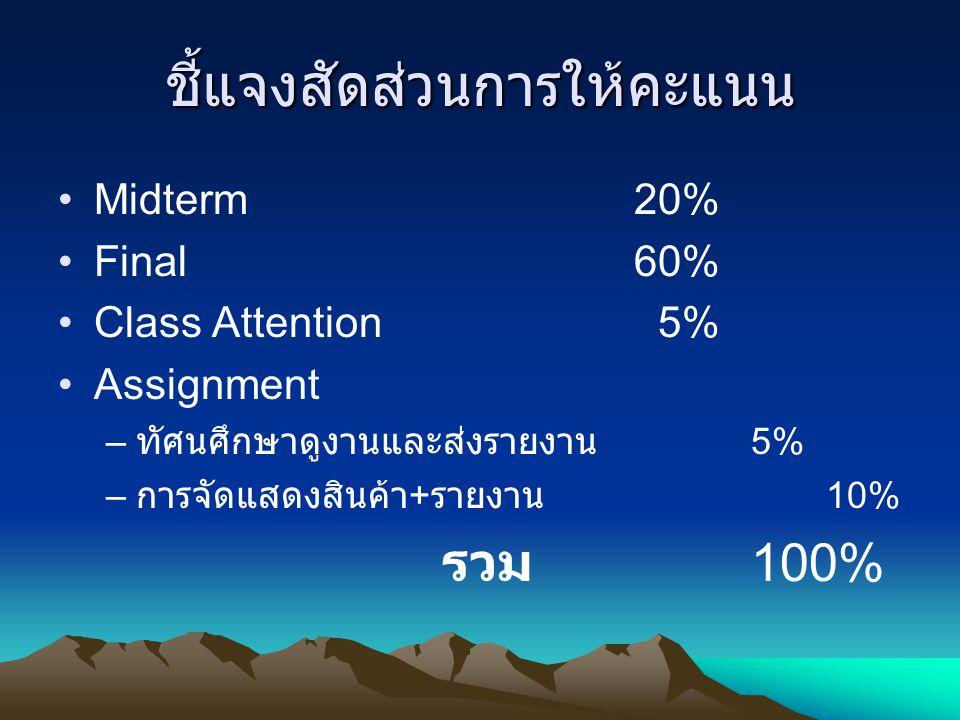 ชี้แจงสัดส่วนการให้คะแนน Midterm 20% Final 60% Class Attention 5% Assignment – ทัศนศึกษาดูงานและส่งรายงาน 5% – การจัดแสดงสินค้า + รายงาน 10% รวม 100%