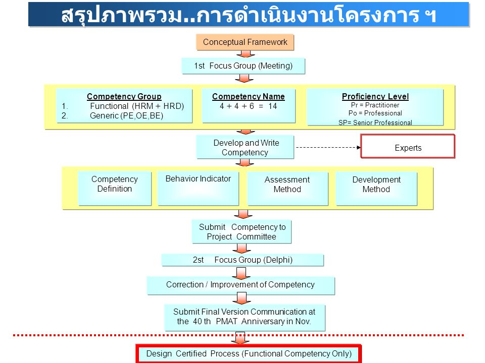 Correction / Improvement of Competency Submit Final Version Communication at the 40 th PMAT Anniversary in Nov. Conceptual Framework 1st Focus Group (