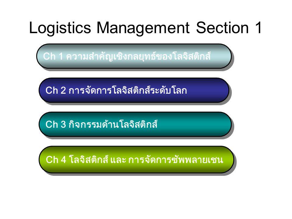 Logistics Management Section 1 Ch 1 ความสำคัญเชิงกลยุทธ์ของโลจิสติกส์ Ch 2 การจัดการโลจิสติกส์ระดับโลก Ch 3 กิจกรรมด้านโลจิสติกส์ Ch 4 โลจิสติกส์ และ