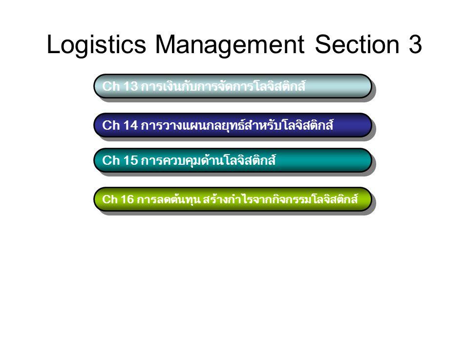 Logistics Management Section 3 Ch 13 การเงินกับการจัดการโลจิสติกส์ Ch 14 การวางแผนกลยุทธ์สำหรับโลจิสติกส์ Ch 15 การควบคุมด้านโลจิสติกส์ Ch 16 การลดต้น