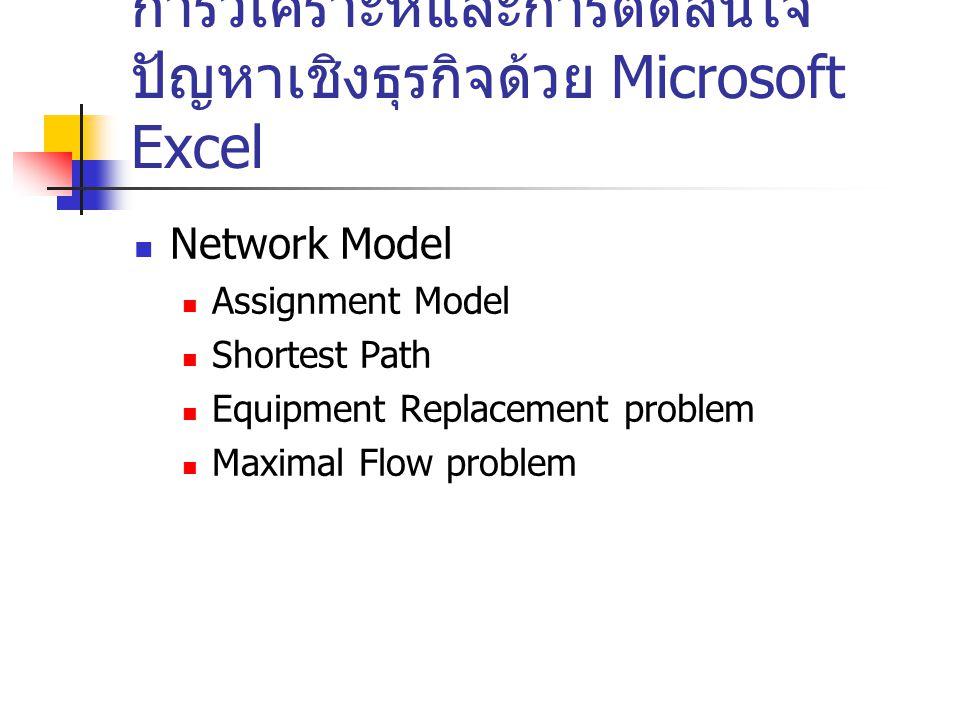การวิเคราะห์และการตัดสินใจ ปัญหาเชิงธุรกิจด้วย Microsoft Excel Network Model Assignment Model Shortest Path Equipment Replacement problem Maximal Flow