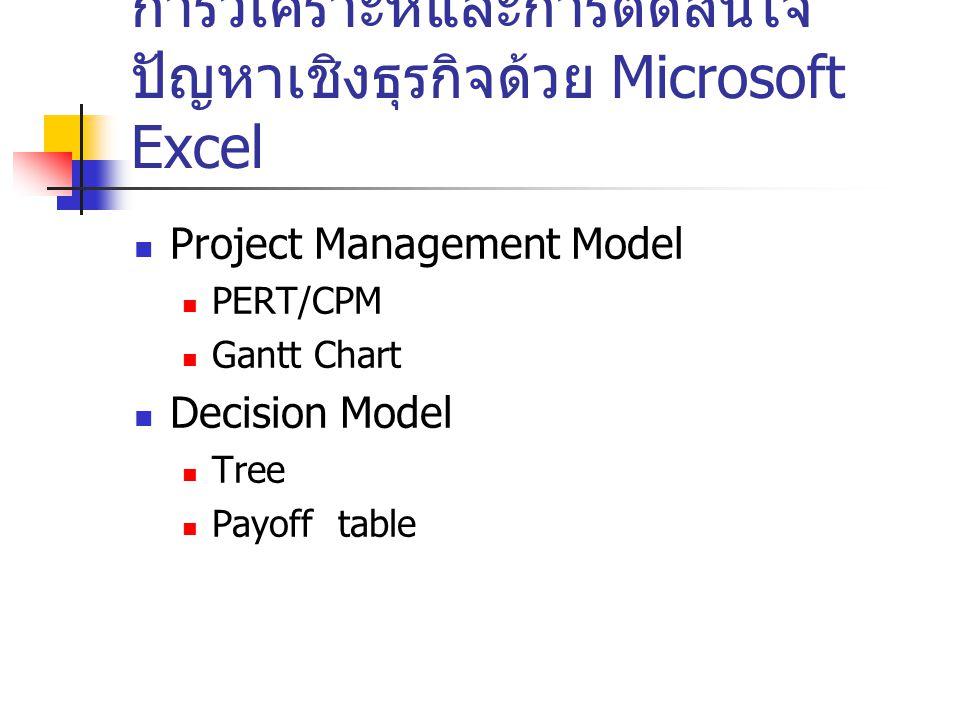 การวิเคราะห์และการตัดสินใจ ปัญหาเชิงธุรกิจด้วย Microsoft Excel Project Management Model PERT/CPM Gantt Chart Decision Model Tree Payoff table