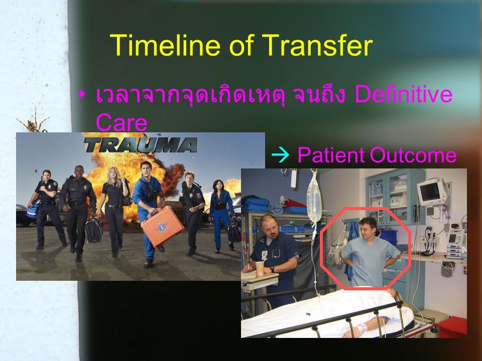 Timeline of Transfer เวลาจากจุดเกิดเหตุ จนถึง Definitive Care  Patient Outcome