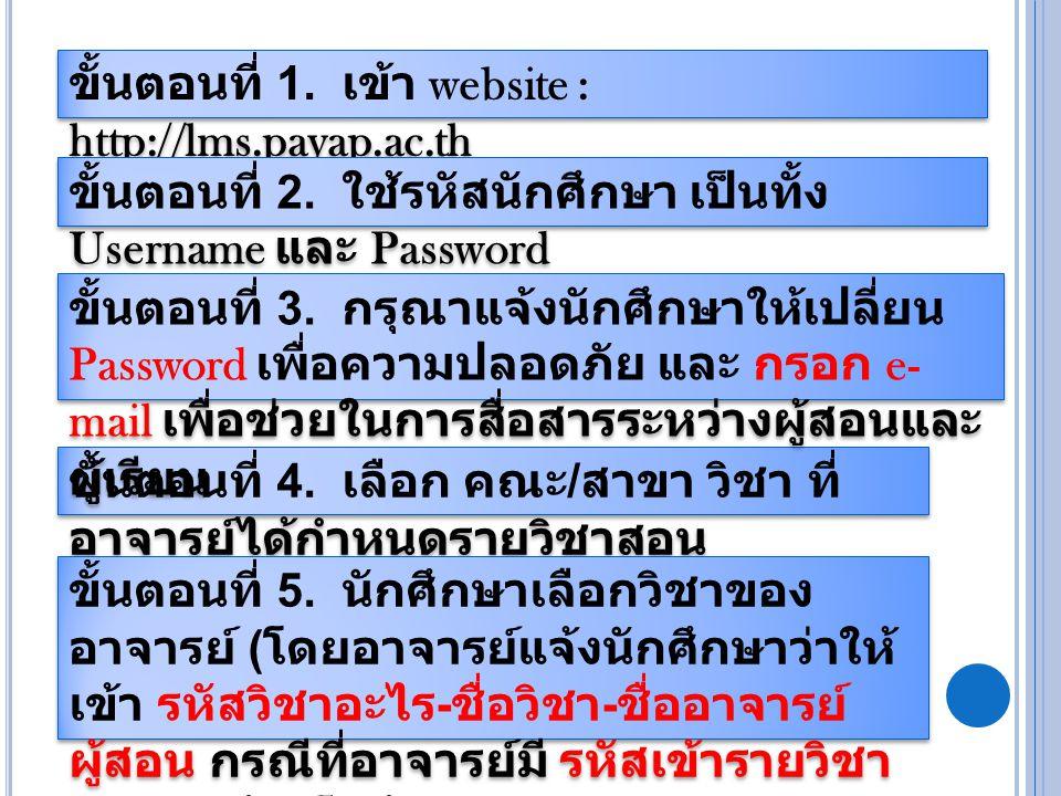 ขั้นตอนที่ 1. เข้า website : http://lms.payap.ac.th ขั้นตอนที่ 2.