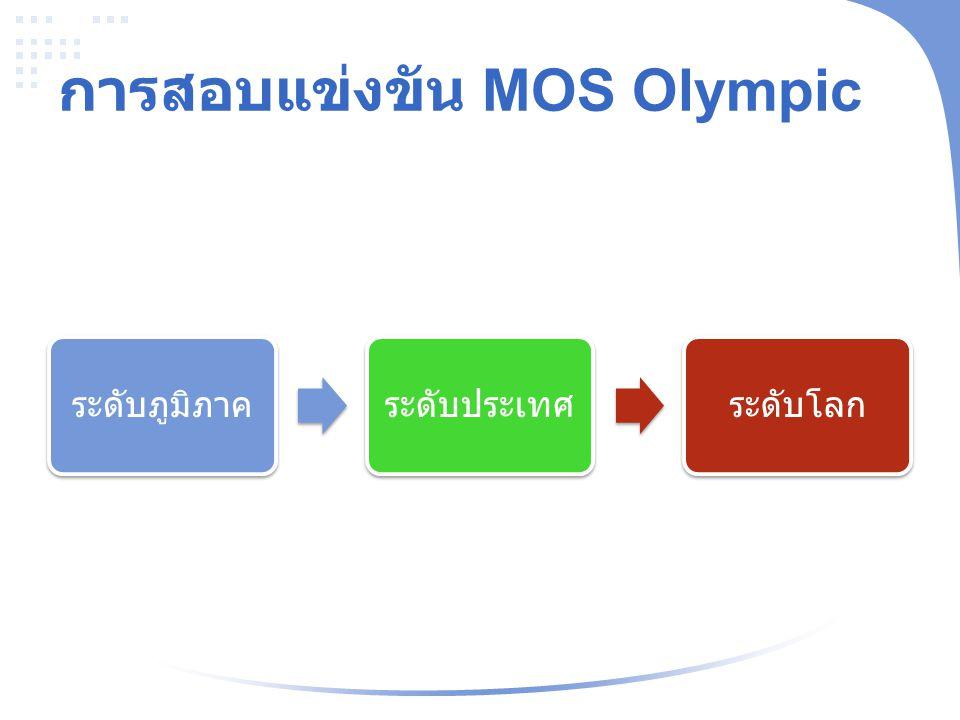 การสอบแข่งขัน MOS Olympic ระดับภูมิภาคระดับประเทศระดับโลก