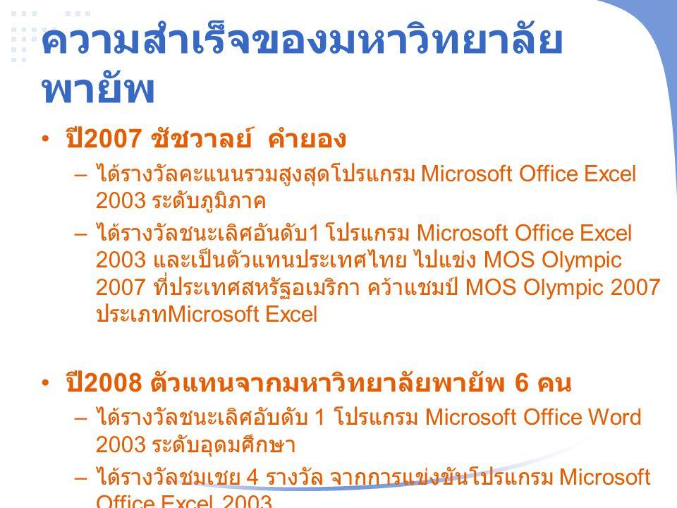 ความสำเร็จของมหาวิทยาลัย พายัพ ปี 2007 ชัชวาลย์ คำยอง – ได้รางวัลคะแนนรวมสูงสุดโปรแกรม Microsoft Office Excel 2003 ระดับภูมิภาค – ได้รางวัลชนะเลิศอันด