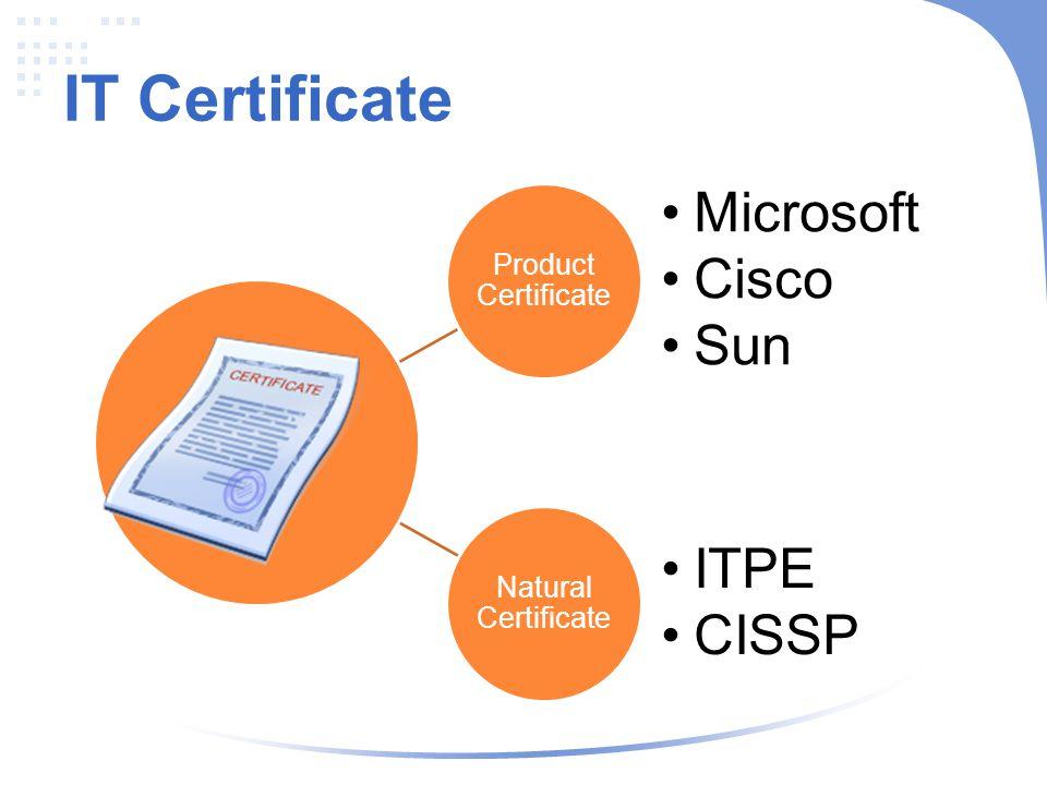 IT Certificate Product Certificate Microsoft Cisco Sun Natural Certificate ITPE CISSP