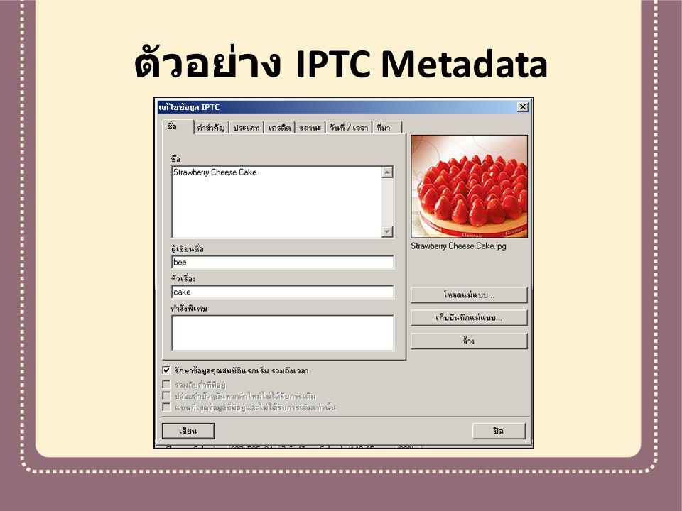 ตัวอย่าง IPTC Metadata