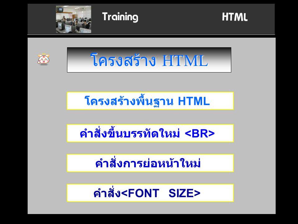 โครงสร้าง HTML โครงสร้างพื้นฐาน HTML คำสั่งขึ้นบรรทัดใหม่ คำสั่งการย่อหน้าใหม่ คำสั่ง <FONT SIZE>