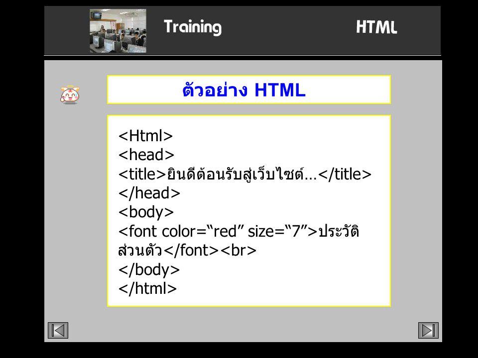 ตัวอย่าง HTML ยินดีต้อนรับสู่เว็บไซต์… ประวัติ ส่วนตัว