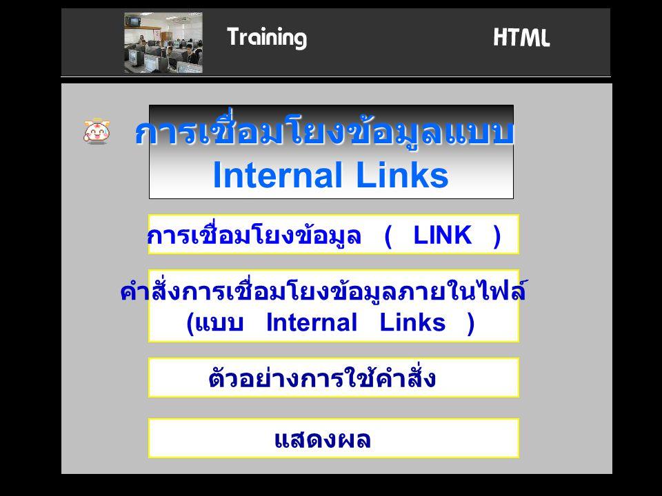 การเชื่อมโยงข้อมูลแบบ Internal Links การเชื่อมโยงข้อมูล ( LINK ) คำสั่งการเชื่อมโยงข้อมูลภายในไฟล์ ( แบบ Internal Links ) ตัวอย่างการใช้คำสั่ง แสดงผล