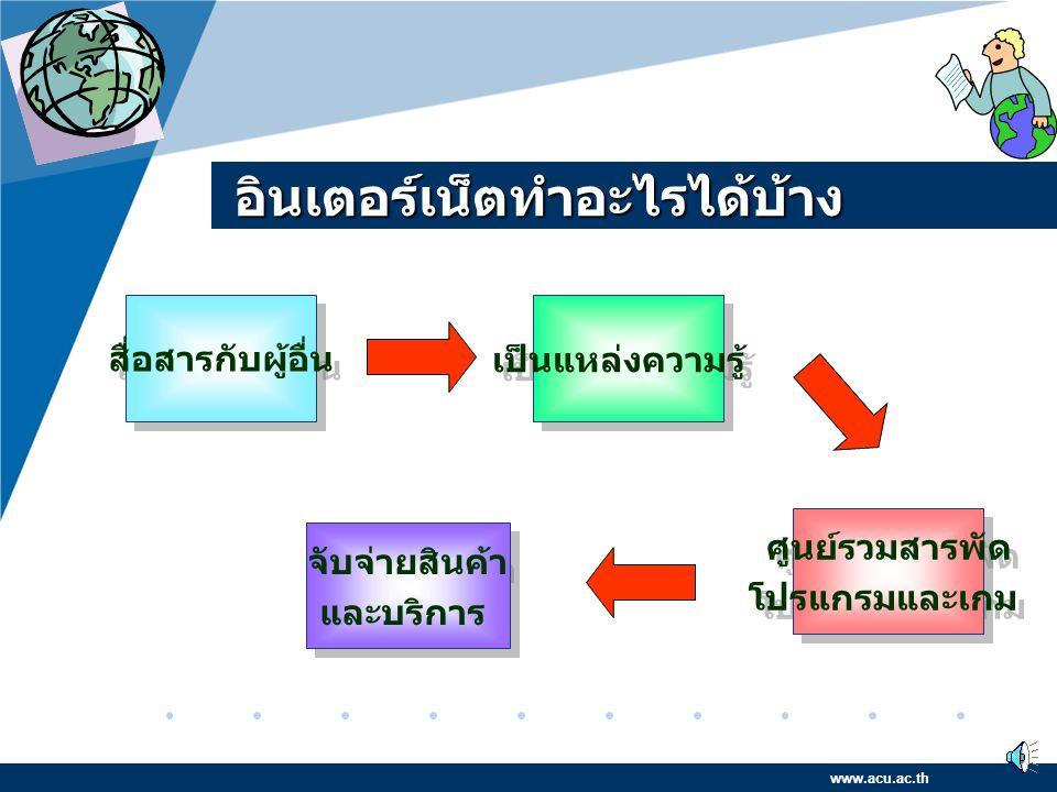 "Company LOGO www.company.com อินเตอร์เน็ตในประเทศไทย พ. ศ. 2535 สำนักวิทยบริการจุฬาลงกรณ์ มหาวิทยาลัย ได้ร่วมมือกับ NECTEC ใน การพัฒนาเครือข่าย "" ไทยส"