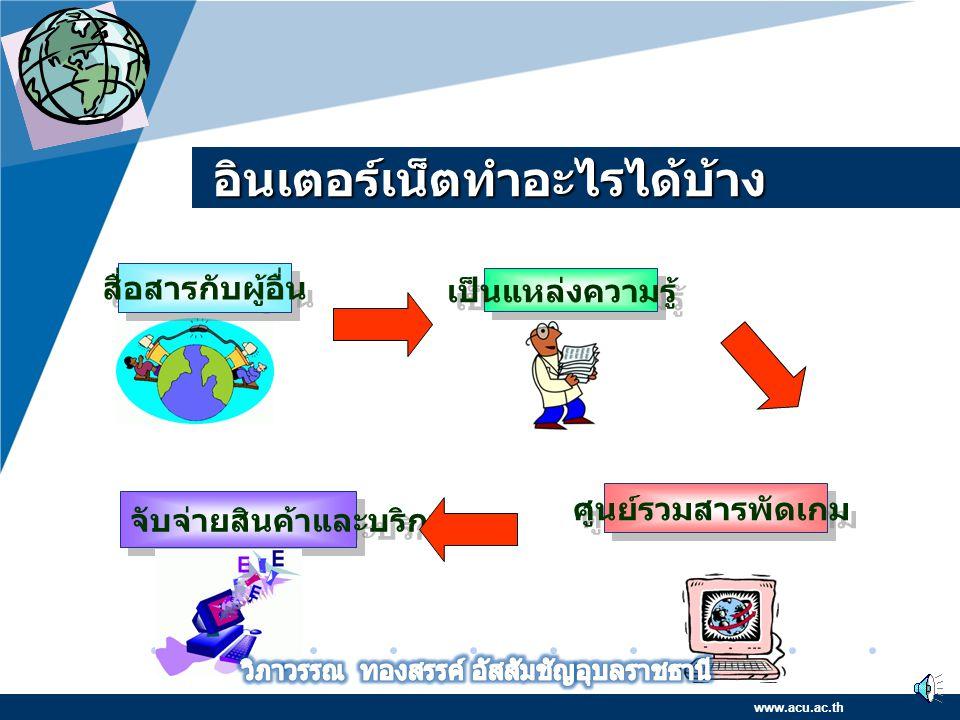 Company LOGO www.company.com Internet คือ กลุ่มของเครือข่ายย่อย คอมพิวเตอร์จำนวนมาก ที่ต่อเข้าด้วยกัน ภายใต้ มาตรฐานการสื่อสาร (Protocol) เดียวกัน จนเ