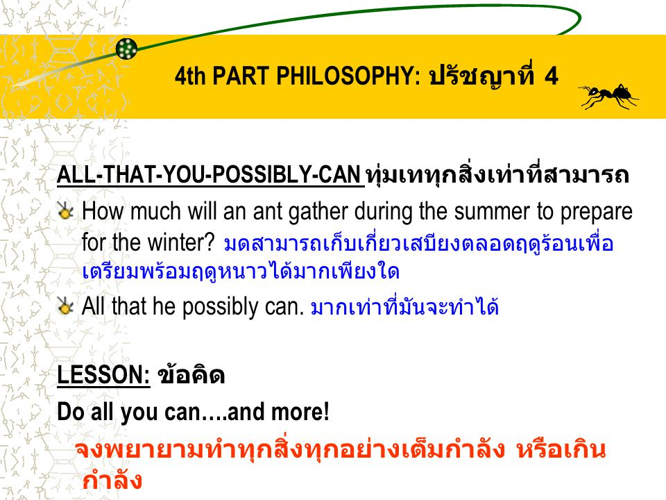 4th PART PHILOSOPHY: ปรัชญาที่ 4 ALL-THAT-YOU-POSSIBLY-CAN ทุ่มเททุกสิ่งเท่าที่สามารถ How much will an ant gather during the summer to prepare for the