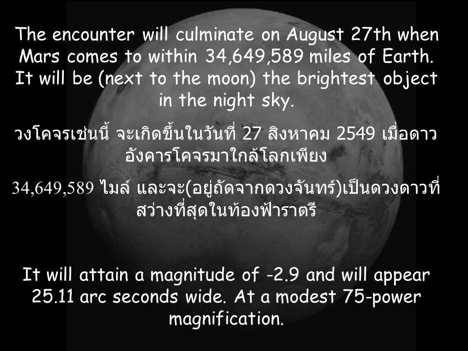 The encounter will culminate on August 27th when Mars comes to within 34,649,589 miles of Earth.