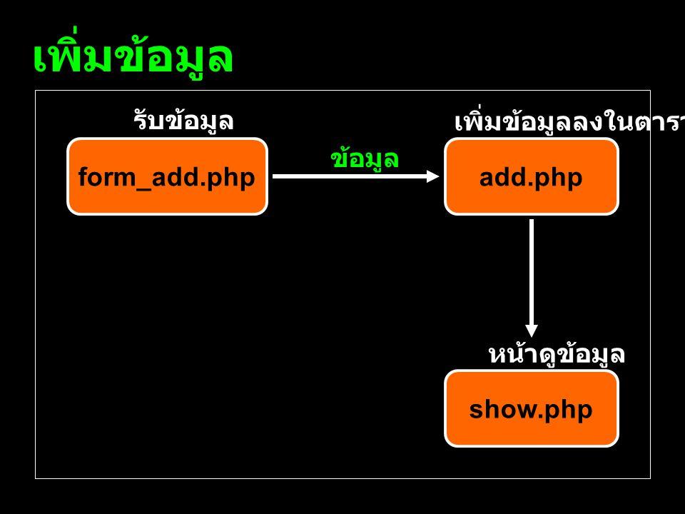 เพิ่มข้อมูล form_add.phpadd.php show.php รับข้อมูล เพิ่มข้อมูลลงในตาราง หน้าดูข้อมูล ข้อมูล