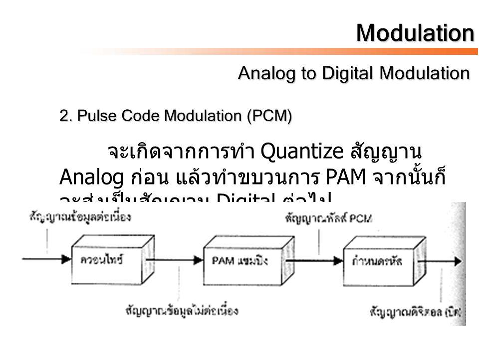 Modulation 2. Pulse Code Modulation (PCM) จะเกิดจากการทำ Quantize สัญญาน Analog ก่อน แล้วทำขบวนการ PAM จากนั้นก็ จะส่งเป็นสัญญาน Digital ต่อไป
