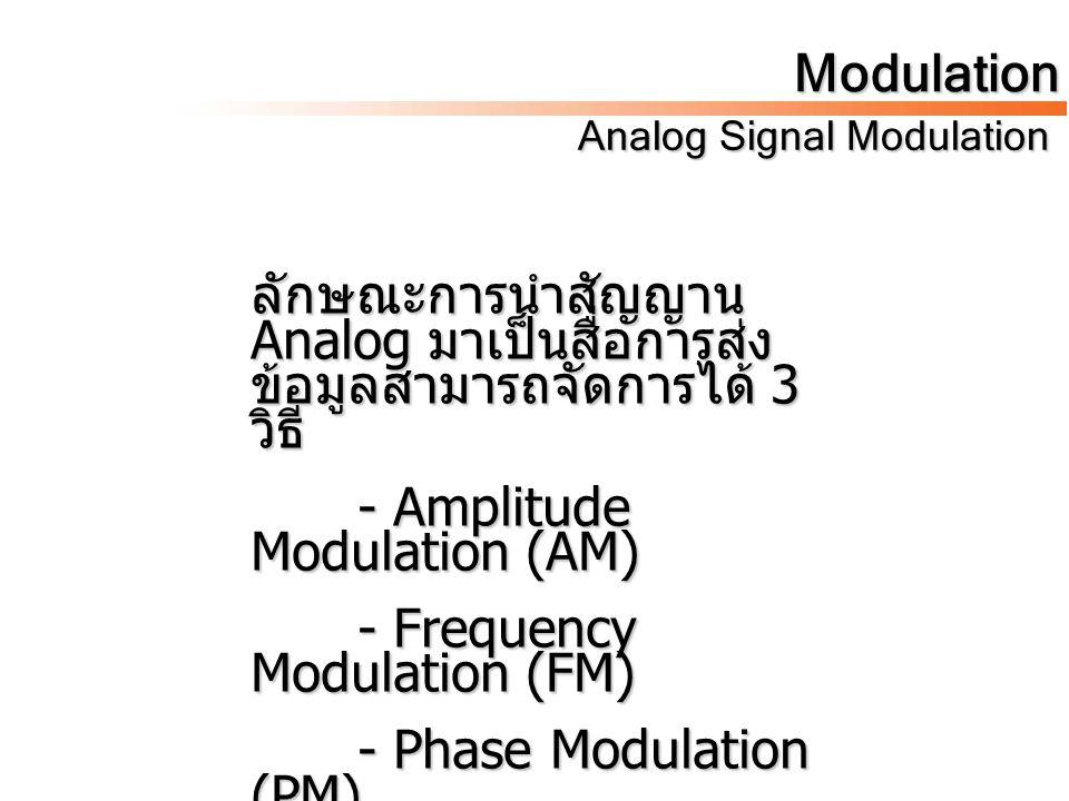 ลักษณะการนำสัญญาน Analog มาเป็นสื่อการส่ง ข้อมูลสามารถจัดการได้ 3 วิธี - Amplitude Modulation (AM) - Frequency Modulation (FM) - Phase Modulation (PM)