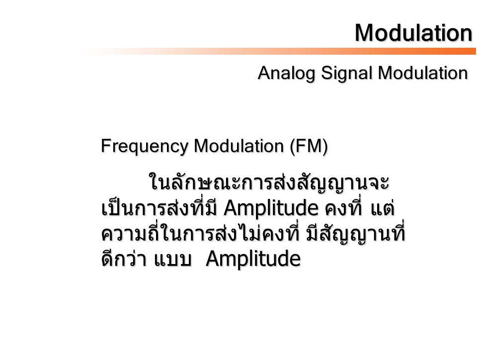 Modulation Analog Signal Modulation Analog Signal Modulation Frequency Modulation (FM) ในลักษณะการส่งสัญญานจะ เป็นการส่งที่มี Amplitude คงที่ แต่ ความ