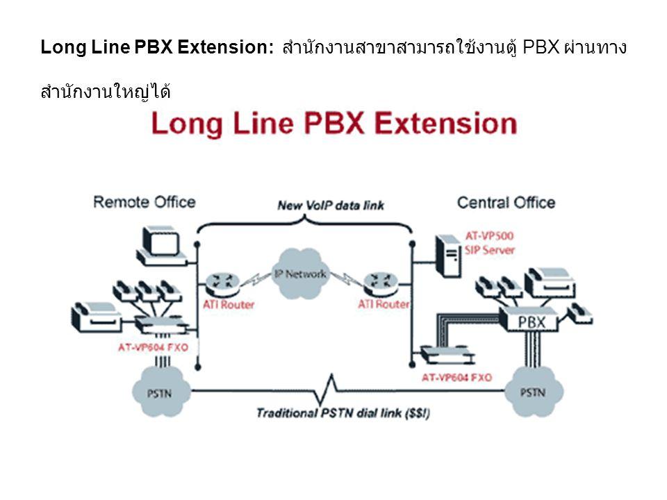 Long Line PBX Extension: สำนักงานสาขาสามารถใช้งานตู้ PBX ผ่านทาง สำนักงานใหญ่ได้