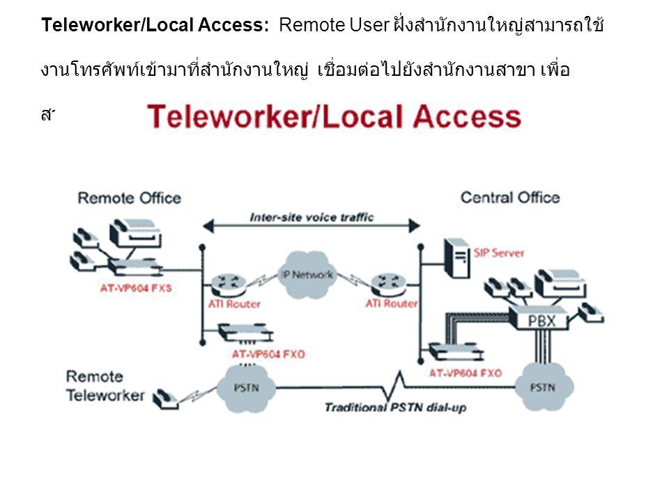 Teleworker/Local Access: Remote User ฝั่งสำนักงานใหญ่สามารถใช้ งานโทรศัพท์เข้ามาที่สำนักงานใหญ่ เชื่อมต่อไปยังสำนักงานสาขา เพื่อ สามารถใช้งานโทรศัพท์ใ