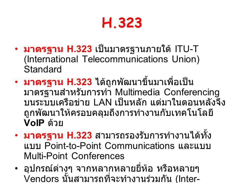 H.323 มาตรฐาน H.323 เป็นมาตรฐานภายใต้ ITU-T (International Telecommunications Union) Standard มาตรฐาน H.323 ได้ถูกพัฒนาขึ้นมาเพื่อเป็น มาตรฐานสำหรับกา