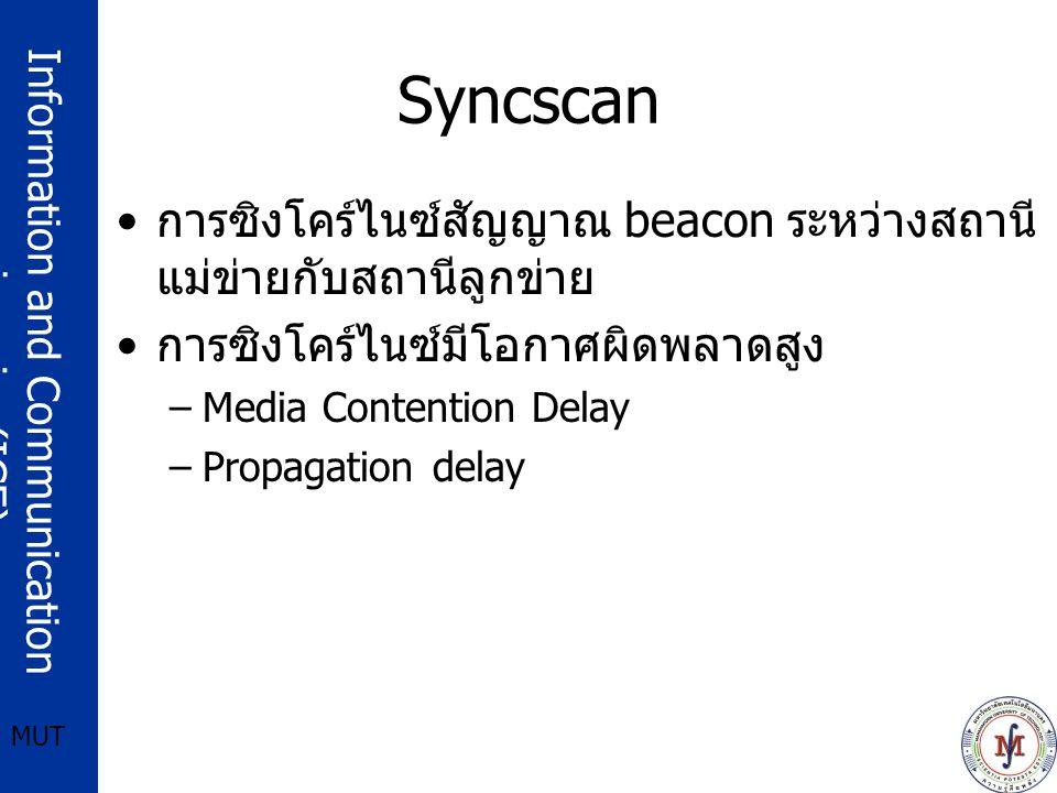 Information and Communication engineering(ICE) MUT Syncscan การซิงโคร์ไนซ์สัญญาณ beacon ระหว่างสถานี แม่ข่ายกับสถานีลูกข่าย การซิงโคร์ไนซ์มีโอกาศผิดพล
