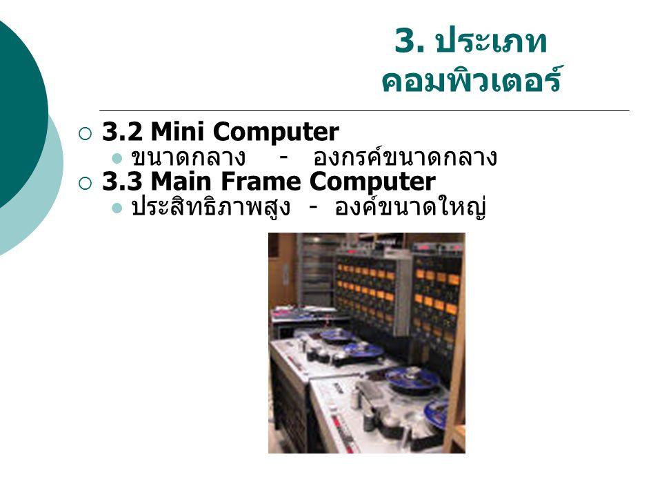 3. ประเภท คอมพิวเตอร์  3.2 Mini Computer ขนาดกลาง - องกรค์ขนาดกลาง  3.3 Main Frame Computer ประสิทธิภาพสูง - องค์ขนาดใหญ่