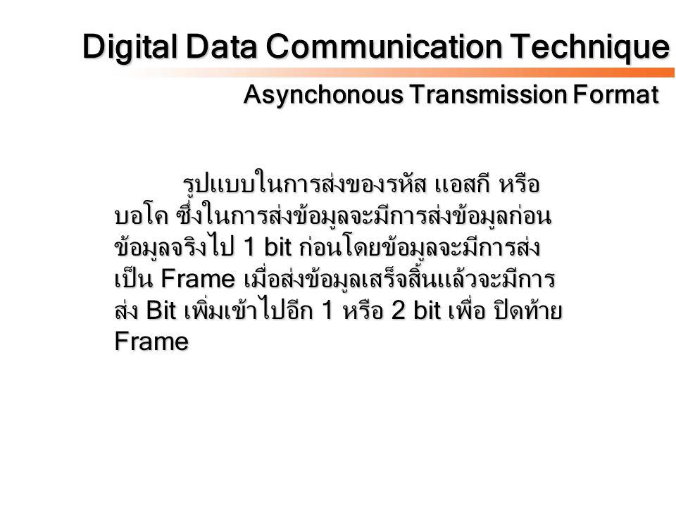 Digital Data Communication Technique Asynchonous Transmission Format รูปแบบในการส่งของรหัส แอสกี หรือ บอโค ซึ่งในการส่งข้อมูลจะมีการส่งข้อมูลก่อน ข้อม