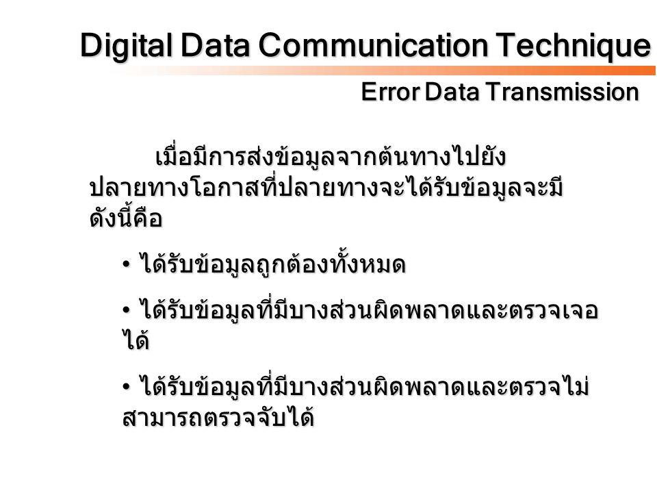 Digital Data Communication Technique Error Data Transmission เมื่อมีการส่งข้อมูลจากต้นทางไปยัง ปลายทางโอกาสที่ปลายทางจะได้รับข้อมูลจะมี ดังนี้คือ ได้ร