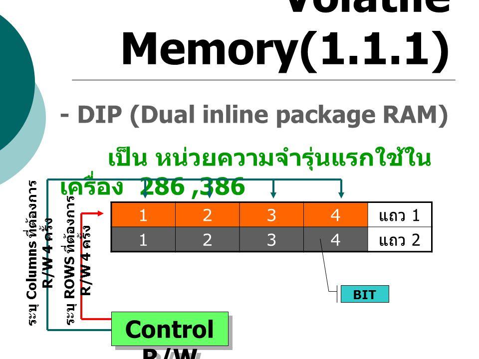 Volatile Memory(1.1.1) - DIP (Dual inline package RAM) เป็น หน่วยความจำรุ่นแรกใช้ใน เครื่อง 286,386 1234 แถว 1 1234 แถว 2 BIT Control R/W ระบุ Columns