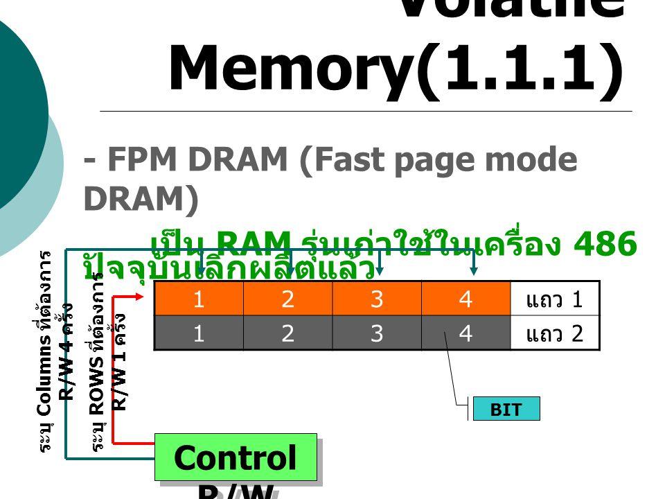 Volatile Memory(1.1.1) - FPM DRAM (Fast page mode DRAM) เป็น RAM รุ่นเก่าใช้ในเครื่อง 486 ปัจจุบันเลิกผลิตแล้ว 1234 แถว 1 1234 แถว 2 BIT Control R/W ร