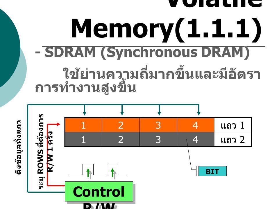 Volatile Memory(1.1.1) - SDRAM (Synchronous DRAM) ใช้ย่านความถี่มากขึ้นและมีอัตรา การทำงานสูงขึ้น 1234 แถว 1 1234 แถว 2 BIT Control R/W ดึงข้อมูลทั้งแ