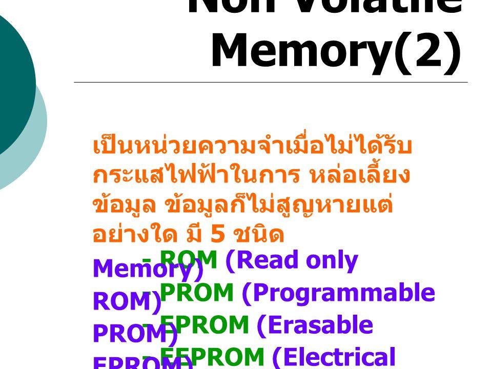 Non Volatile Memory(2.1) ROM (Read only Memory) เป็นส่วนที่ใช้บันทึกข้อมูลเป็น การถาวรซึ่งส่วนใหญ่จะใช้บันทึก ข้อมูลไมโครโปรแกรมเช่น - โปรแกรมที่ถูกเรียกใช้โดย โปรแกรมอื่นเป็น ประจำ - โปรแกรมระบบ - ตารางข้อมูลเกี่ยวกับ ฟังก์ชัน