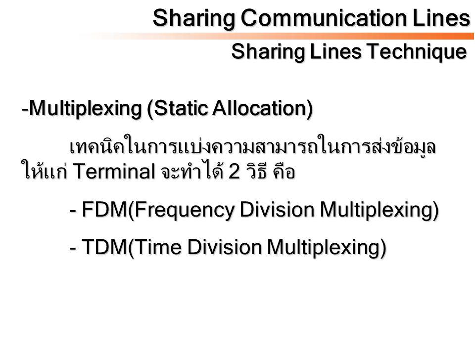 Sharing Communication Lines Sharing Lines Technique -Multiplexing (Static Allocation) เทคนิคในการแบ่งความสามารถในการส่งข้อมูล ให้แก่ Terminal จะทำได้