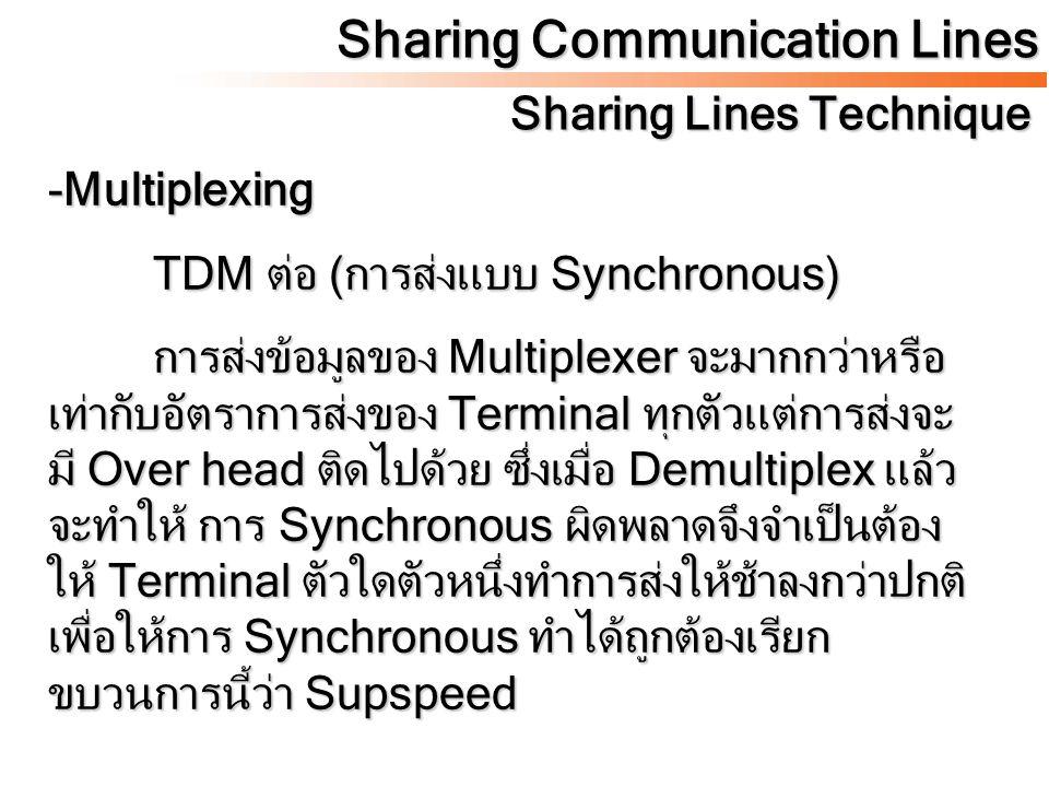 Sharing Communication Lines Sharing Lines Technique -Multiplexing TDM ต่อ (การส่งแบบ Synchronous) การส่งข้อมูลของ Multiplexer จะมากกว่าหรือ เท่ากับอัต
