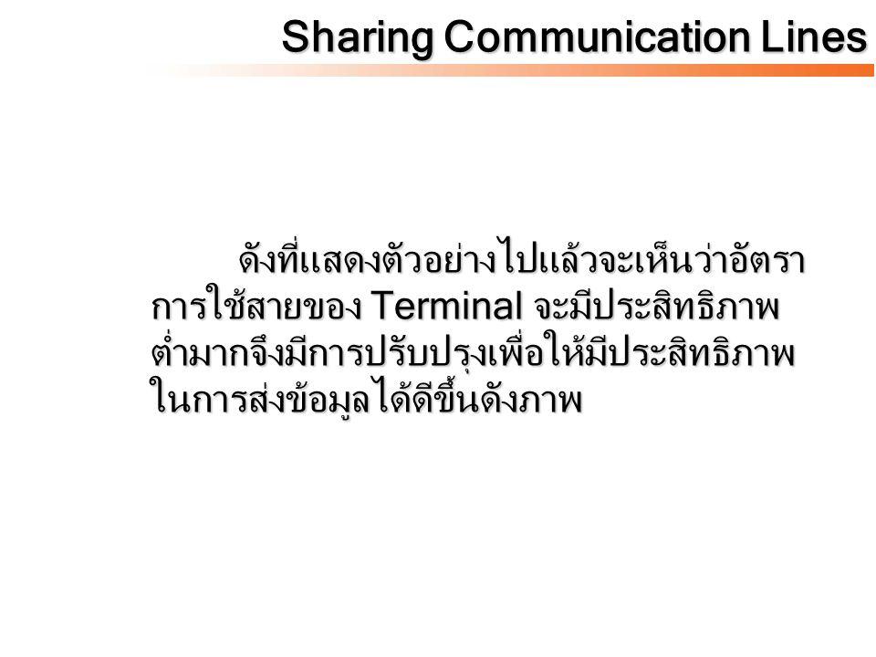 Sharing Communication Lines ดังที่แสดงตัวอย่างไปแล้วจะเห็นว่าอัตรา การใช้สายของ Terminal จะมีประสิทธิภาพ ต่ำมากจึงมีการปรับปรุงเพื่อให้มีประสิทธิภาพ ใ