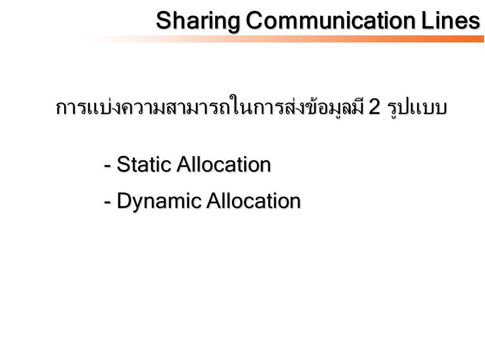 เป็นการแบ่งความสามารถในการส่งข้อมูล ให้แก่ terminal ด้วยสัดส่วนคงที่แน่นอน และเมื่อ Terminal ใดไม่ใช้สิทธิในการส่งจะไม่สามารถโอน สิทธิในการส่งให้แก่ Terminal อื่นได้ตัวอย่างกันใช้ สายร่วมกันแบบ Static Allocation คือ - Frequency Division Multiplexing - Time Division Multiplexing Sharing Communication Lines Static Allocation