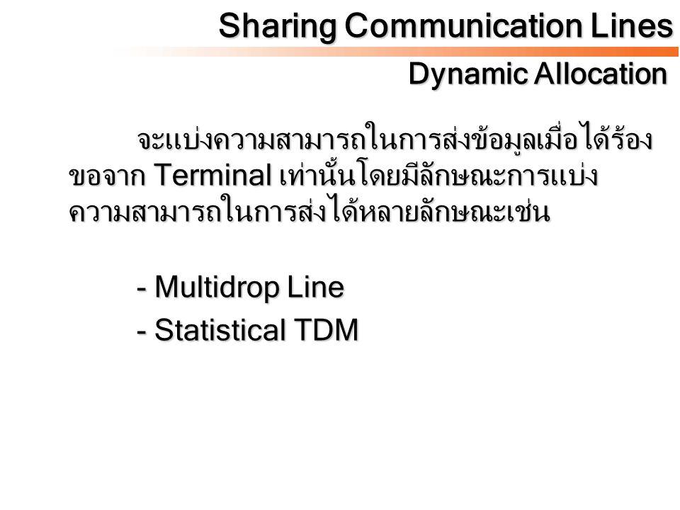 สำหรับเทคนิคที่ใช้สายร่วมกันระหว่าง Terminal แบ่งตามชนิดของการส่งข้อมูลในสายได้ เป็น 2 วิธีคือ - Multidrop Lines - Multiplexing Sharing Communication Lines Sharing Lines Technique
