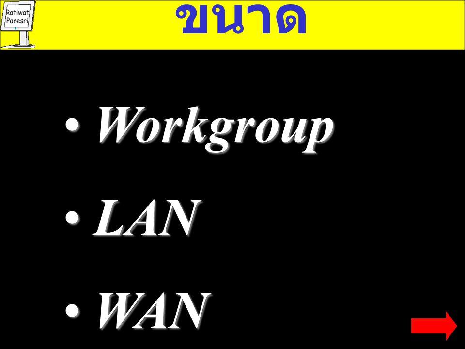 LAN ขนา ด ลักษณะการ ทำงาน รูปแ บบ Band width สถาปัตย กรรม Workgroup, LAN,WAN Client server, Peer 2 Peer Bus, Ring, Star Base-band Broad- band Ethernet